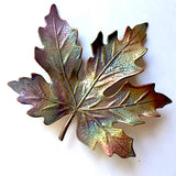 Maple Leaf Rainbow Metal Button, by Susan Clarke, 2""