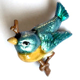 Small Blue Bird Artisan Enamel Metal Button 3/4""
