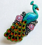 Peacock Artisan Enamel Metal Button 1-1/8""