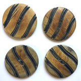 horn button black wavy stripes on brown