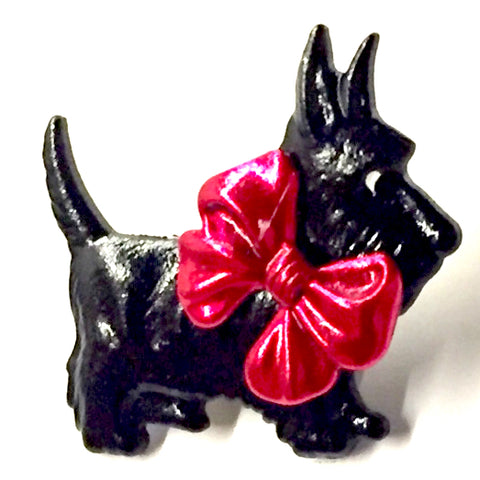 Scottie Dog Button, Black with Red Bow, 1""