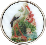 Stork with Babies Artisan Shell Button by Susan Clarke, 1-1/2""