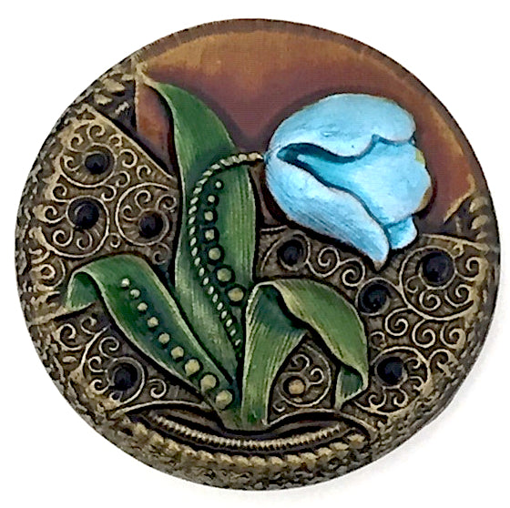 "Blue Tulip Button 1-1/4"" Artisan Metal"