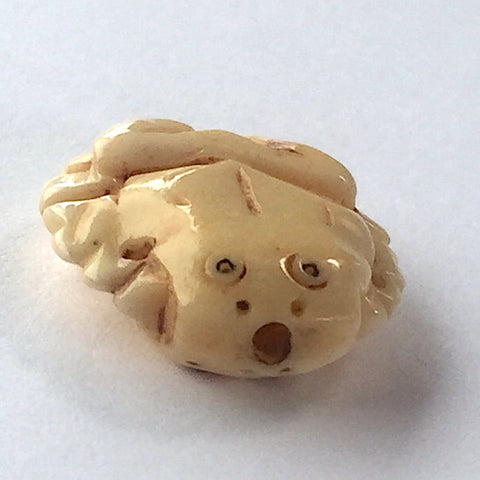 "Frog Beads of Carved Bone, 5/8"". Six for $12.75"