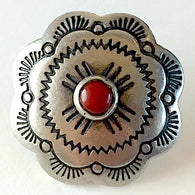 Concha Button Large Silver w faux coral and scallops