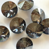 Large Swarovski Button, Crystal Satin Graphite 1""