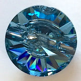 "Blue Aquamarine 5/8"" Swarovski Crystal Button"
