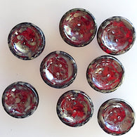 "Deep Red Burgundy/Gold Glass Scoop 1/2"" Button, 8 for $5.25"