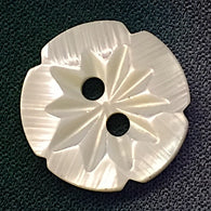White Jasmine-Flower Etched Shell Button, Largest Size, 5/8""