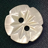 White Jasmine-Flower Etched Shell Button, Medium Size, 1/2""