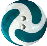 Swirly Turquoise / White Shell Button 7/8""