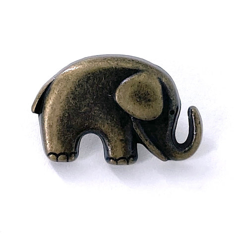 "Little Brass Elephant Button 3/4"" Metal, Shank Back   #SWC-42"