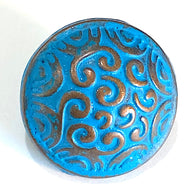 "Small Blue and Copper Scrollwork Button 5/8""  #SWC-43"
