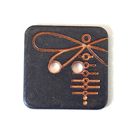 "Dragonfly on black/copper square 2 hole button, 5/8""  #SWC-53"