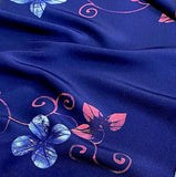 Indigo with Pink/White Flowers/Swirls Kimono Silk Crepe by the Yard  #474759