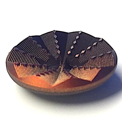 Copper/Black Ombre Industrial Sunburst Wood Button, 1-1/8""
