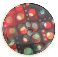 "Black, Red, Green Digital Dots 7/8"" 2-hole Button"