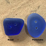 "Royal Blue Tumbled Silky Glass ""Sea Glass"" Button,  1/2"" - 3/4"""