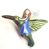 "Fairy on Hummingbird Tiny Metal Button 1"" - Blue Dress"