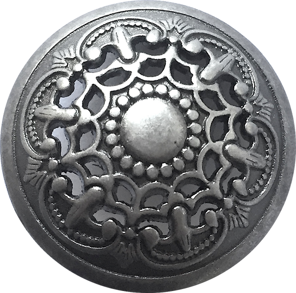 "Persian Lace Silver-Gray Metal Button 7/8"" with Shank Back"