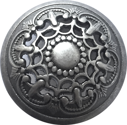 "Silver-Gray Medieval Filigree Metal Button 7/8"" with Shank Back #SWC-34"