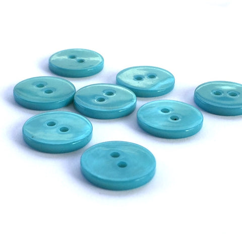 "Teal Blue River Shell 5/8"" 2-hole Button, Pack of 8 for $8.00   #1776"
