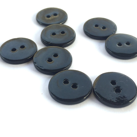 "3/8"" Black River Shell 2-hole Button, TEN for $8.00 # 2255"
