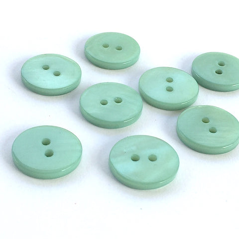 "3/8"" Pastel Turquoise Blue Green River Shell 2-hole Button, TEN for $8.00   #2246"