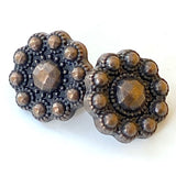 "Small Copper/Blackish Flower Faux-Beaded Metal Button 1/2"" Shank Back  #SWC-65"