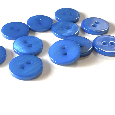 "3/8"" Bright Blue River Shell 2-hole Button, TEN for $8.00   #2248"