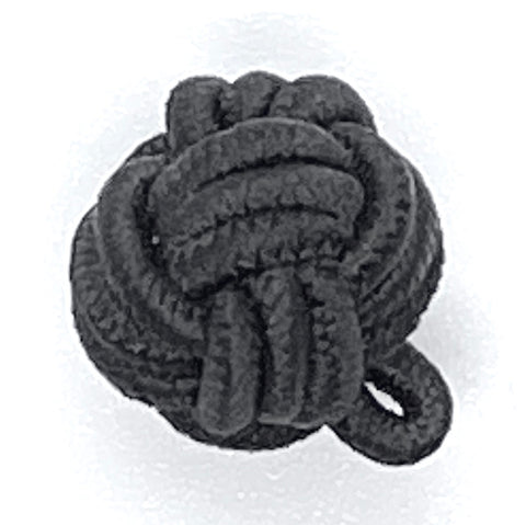 Vintage Black Chinese Corded Woven Knot Passamenterie Buttons, 1/2""