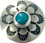 "Eight Open Petals w/ ""Turquoise"", 5/8"" Southwest Button #SW-53"