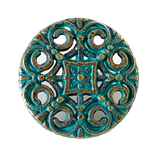 "Green Patina Medallion Brass Button  11/16"" / 18mm  #41749"