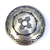 "Zia Sun Symbol w. Barbed Wire 1"" Concho Button Nickel Silver #SW-27"