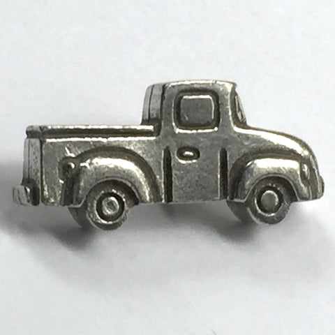 "Pickup Truck Button in Pewter, 7/8"" USA Pick Up"