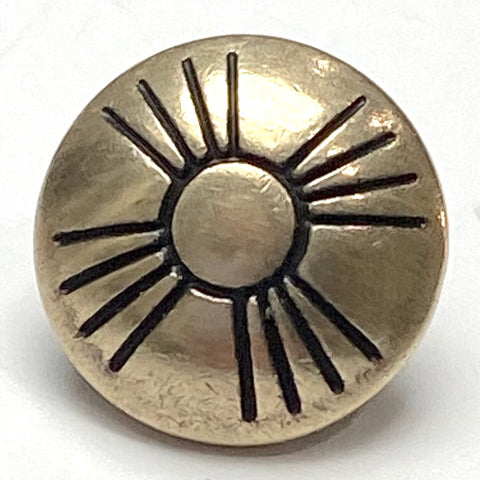 "Small Pale Gold Satin Brass Zia Sun Button 1/2""  #SW-4"