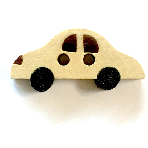 "SALE Car Button Tan + Black 1""   2 Holes, Wood"