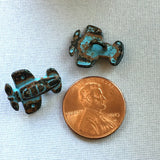 "Airplane Button, Metal Blue Patina 3/4"" Propeller Plane"