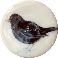 "Blackbird Porcelain Button 1-1/8"" 2-hole, Handmade"