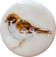 "Sparrow Bird Porcelain Button 1-1/8"" 2-hole, Handmade"