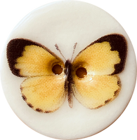 Yellow Butterfly Button, Handmade Porcelain 7/8""