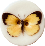Yellow Butterfly Button, Porcelain 1-1/2""