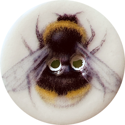 Bumble Bee Button, Handmade Porcelain 7/8""