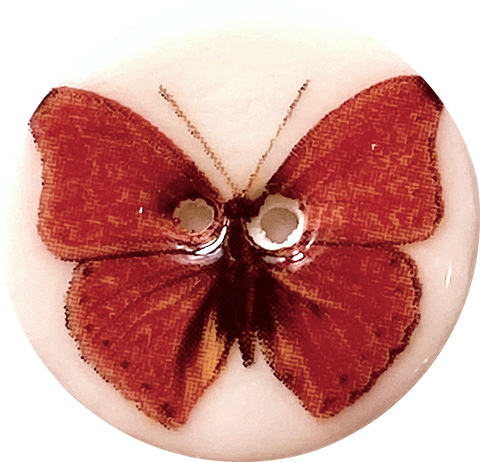 Red Butterfly Button, Handmade Porcelain 7/8""