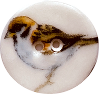"Sparrow Bird Button, Porcelain 7/8"" Handmade Ceramic"