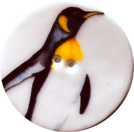 Emperor Penguin 'B', Large Handmade Porcelain Button 1-1/2""