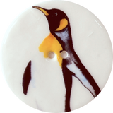 Emperor Penguin 'A' Button, Large Handmade Porcelain 1-1/2""