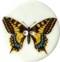 Tiger Swallowtail Butterfly Large Handmade Porcelain Button 1-1/2""
