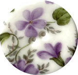 "Purple Violets Round Porcelain Button 1-1/8"" 2-hole, Handmade"