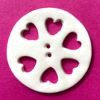 Heart Wheel Porcelain Cut-Out Large Handmade Button 1-1/2""